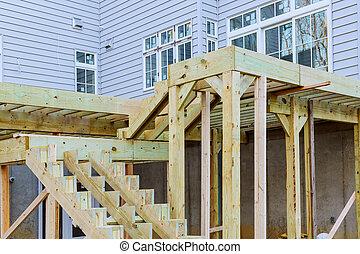 中庭, インストール, 木製の床, デッキ, 板, 木, 分解しなさい, 新しい
