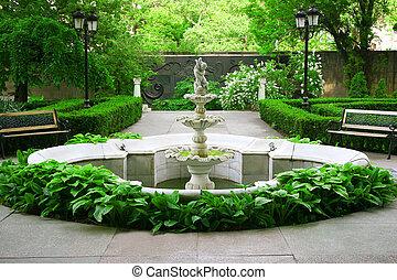 中庭, 古い, 噴水