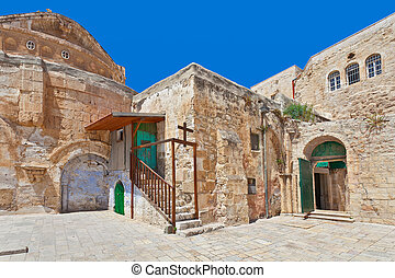 中庭, coptic, ortodox, jerusalem., 教会