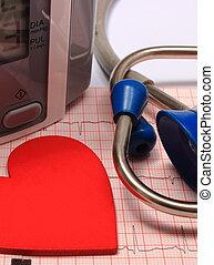 中心の モニター, 形, 圧力, 血, 聴診器, 心電図