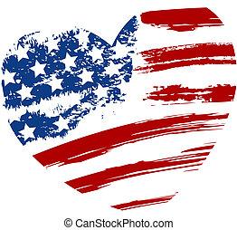 中心の 形, グランジ, 旗, アメリカ