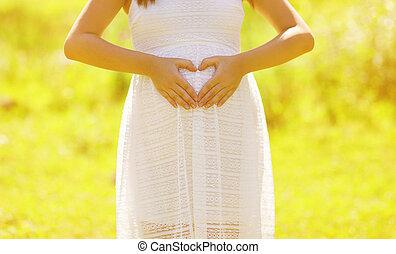 中心の 形, 女, 手, 妊娠した