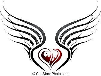 中心の 形, 翼, 入れ墨