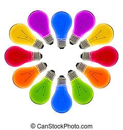 中心の 形, 電球, カラフルなライト