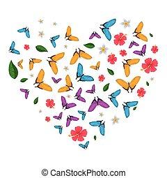 中心パターン, 飛行, 蝶, 形, 花