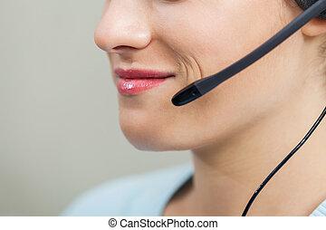 中心, オフィス, mic, 呼出し, 女性の従業員, 使うこと