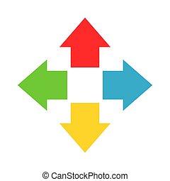 中心, カラフルである, ポイント, 矢, イラスト, 4, ベクトル, から