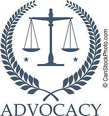 中心, スケール, 正義, advocacy, ベクトル, 法的, アイコン