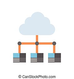 中心, データベース, データ, hosting, サーバー, 合わせなさい, 接続, コンピュータ技術, 雲, ...
