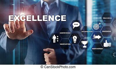 中心, ビジネス, concept., ぼんやりさせられた, バックグラウンド。, 素晴らしさ, 追跡, 目的を達しなさい, excellence.