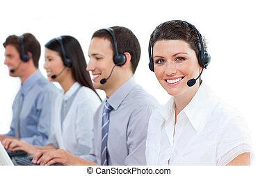 中心, ポジティブ, 仕事, 呼出し, 代理店, カスタマーサービス