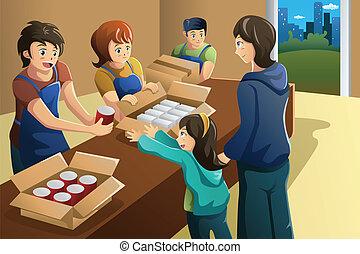 中心, 仕事, 食物, 寄付, チーム, ボランティア