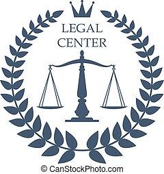 中心, 正義, 法的, スケール, ベクトル, 月桂樹, アイコン