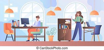 中心, 現代, co-working, オフィス, 現代, 創造的