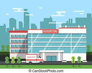 中心, 病院, イラスト, ベクトル, 健康, 外面, 救急車, 建物。