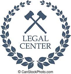 中心, 花輪, 法的, 裁判官, ベクトル, 小槌, アイコン