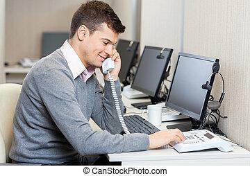 中心, 電話, landline, 従業員, 使うこと