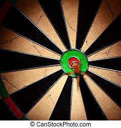中心, dartboard., さっと動きなさい, ヒッティング, 矢, ターゲット