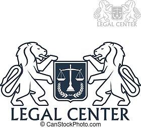 中心, heraldic, 法的, ベクトル, ライオン, 月桂樹, アイコン