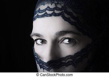 中東である, 女性の 肖像画, 見る, 悲しい, ∥で∥, 青, hijab, 芸術家