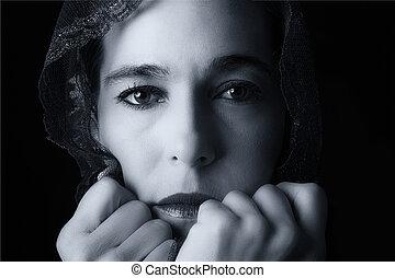 中東である, 女性の 肖像画, 見る, 悲しい, ∥で∥, hijab, 芸術的, co