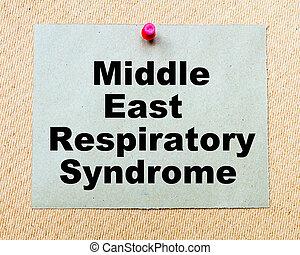 中東, 呼吸, 綜合病症, 寫, 上, 紙張注意