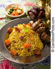 中東, 食物, 子羊, サービスされた, アラビア人, tandoor, ramadan, 米, 通常
