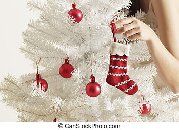 中間大人, 飾り付ける, 女, 木, クリスマス