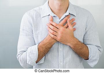 中間 セクション, の, a, 人, ∥で∥, 胸痛