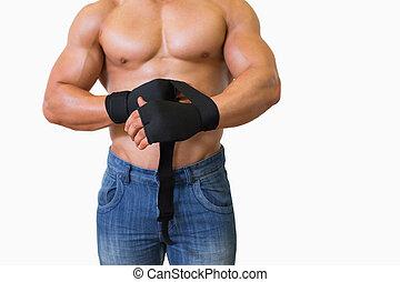 中間 セクション, の, a, 筋肉, 人, binds, 包帯, 上に, 彼の, 手