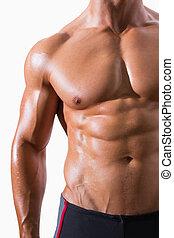 中間 セクション, の, shirtless, 筋肉, 人