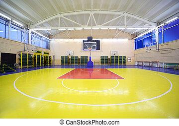 中, つけられる, 学校, ジム, ホール, ∥で∥, red-yellow, 床, そして, バスケット