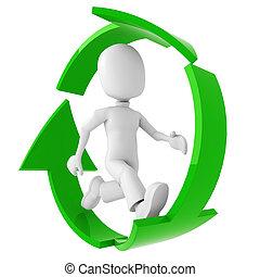 中, 動くこと, リサイクルしなさい, 3d, シンボル, 人
