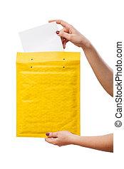 中, 封筒, 黄色カード