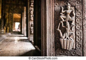 中, 彫刻木質, shwenandaw