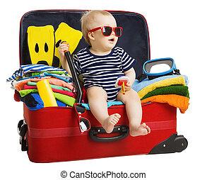 中, 手荷物, モデル, 上に, 隔離された, 休暇, 赤ん坊, 旅行, 背景, 子供, スーツケース, 白, 準備された, 旅行袋, 子供