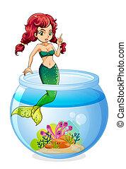 中, 水族館, mermaid