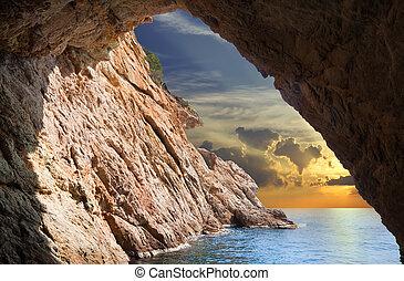 中, 洞穴, 上昇, 光景