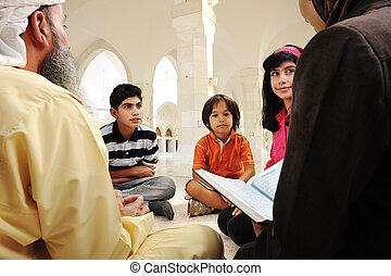 中, 父, 一緒に, 教師, イスラム教, (or, モスク, 勉強, 母, 白, 教育, 子供, them)