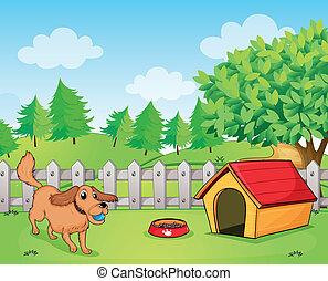 中, 犬, フェンス, 遊び