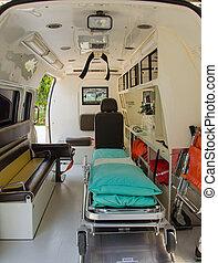 中, 病院, 救急車
