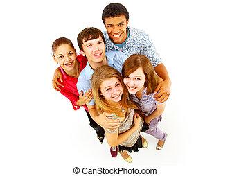 临时工, 团体, 在中, 开心, 人们, 隔离, 结束, 白色