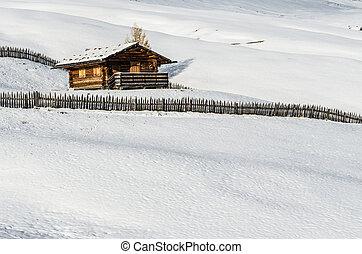 丸太小屋, 中に, ∥, 雪