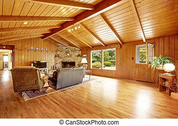 丸太小屋, 家, interior., 反響室, ∥で∥, 暖炉, そして, 革