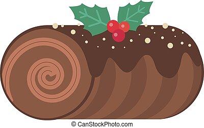 丸太, クリスマス, ケーキ, クリスマス, アイコン, デザート, 平ら