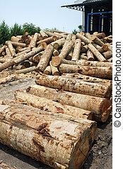 丸太, 工場, 木杭, 合板, 製粉所, 材木