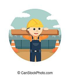 丸太, 木製である, 労働者, 建設, 背景, 円, 持ち上がること