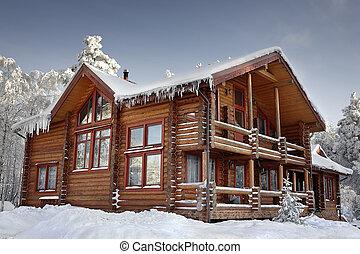 丸太, 窓, ポーチ, 大きい, 冬, 家, daytime., バルコニー