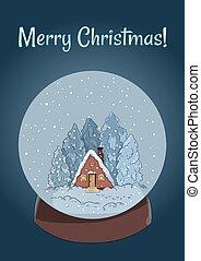 丸太, 葉書, 地球, 現場, 雪, メリークリスマス, キャビン, 冬