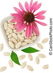 丸薬, 概念, echinacea のpurpurea, 薬, 選択肢, 抜粋